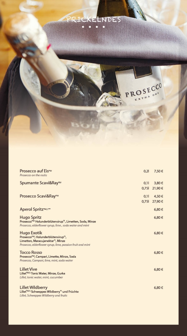 Prosecco und Karte Bar Bensheim